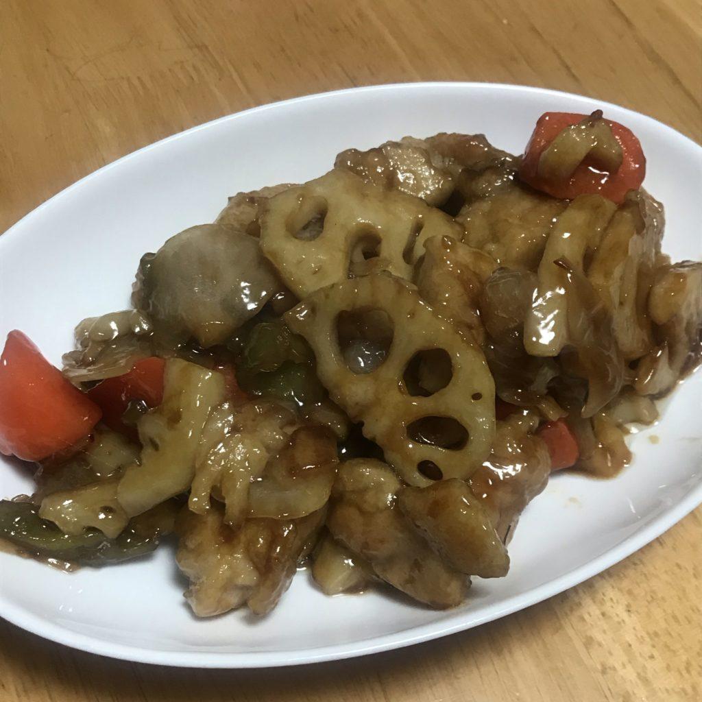 パルシステム ミールキット 根菜と産直鶏肉と黒酢炒め